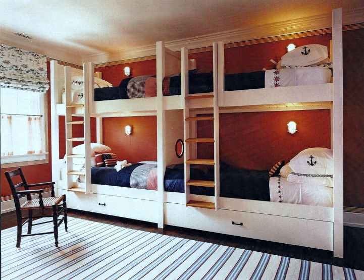Nautical beach house bunk room