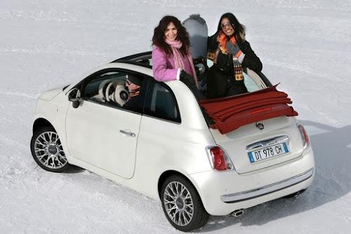 Fiat 500C in Snow