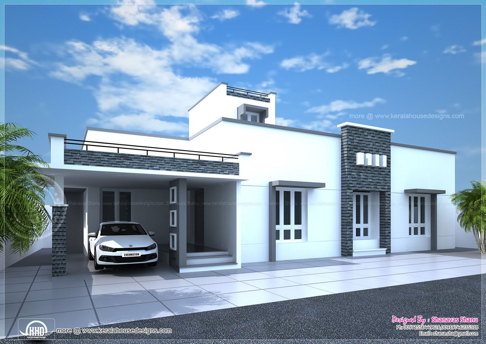 Contemporary single floor home in 1350 sq ft kerala home for One floor modern house