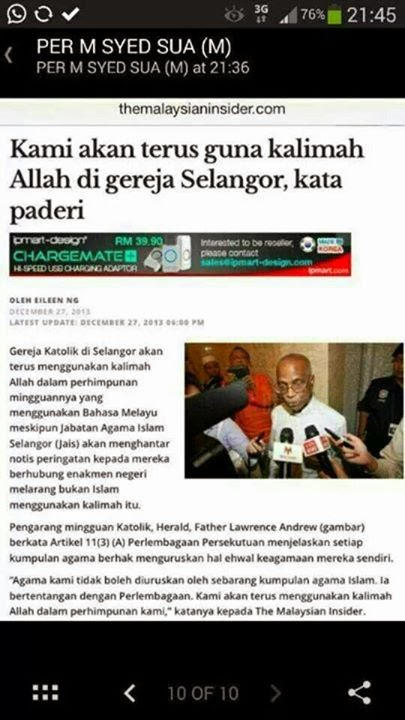 Laporan Polis - Isu Kalimah Allah Di Gereja Negeri Selangor