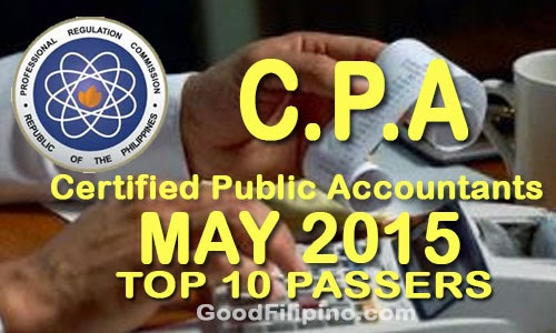 Top 10 Passers: CPA Board Exam Results (May 2015)