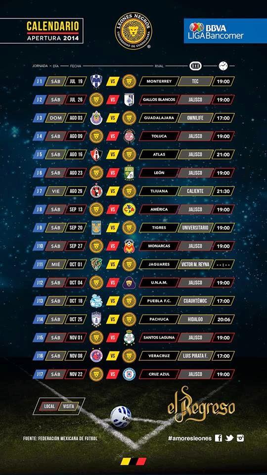 Calendario Torneo Apertura Leones Negros 2014