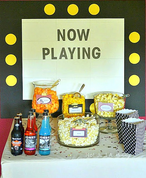 Popcorn Bar ideas for an Oscars viewing party; marquee backdrop