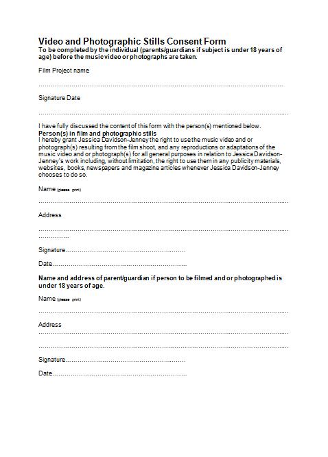 A2 Media Studies - Jess Jenney: Consent form