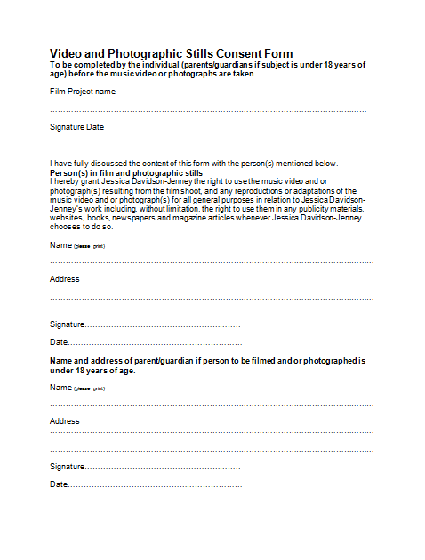 A2 Media Studies Jess Jenney Consent form – Video Consent Form