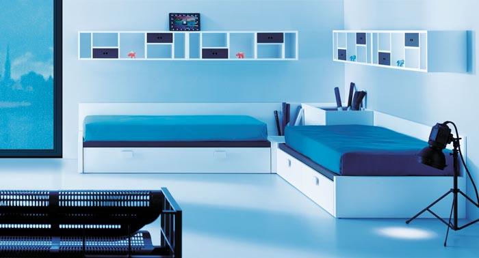 camas cruzadas en ele blancas