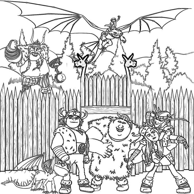 viking fortress night fury and hiccup how to train your dragon coloring pages for kids to - Challenging Dragon Coloring Pages