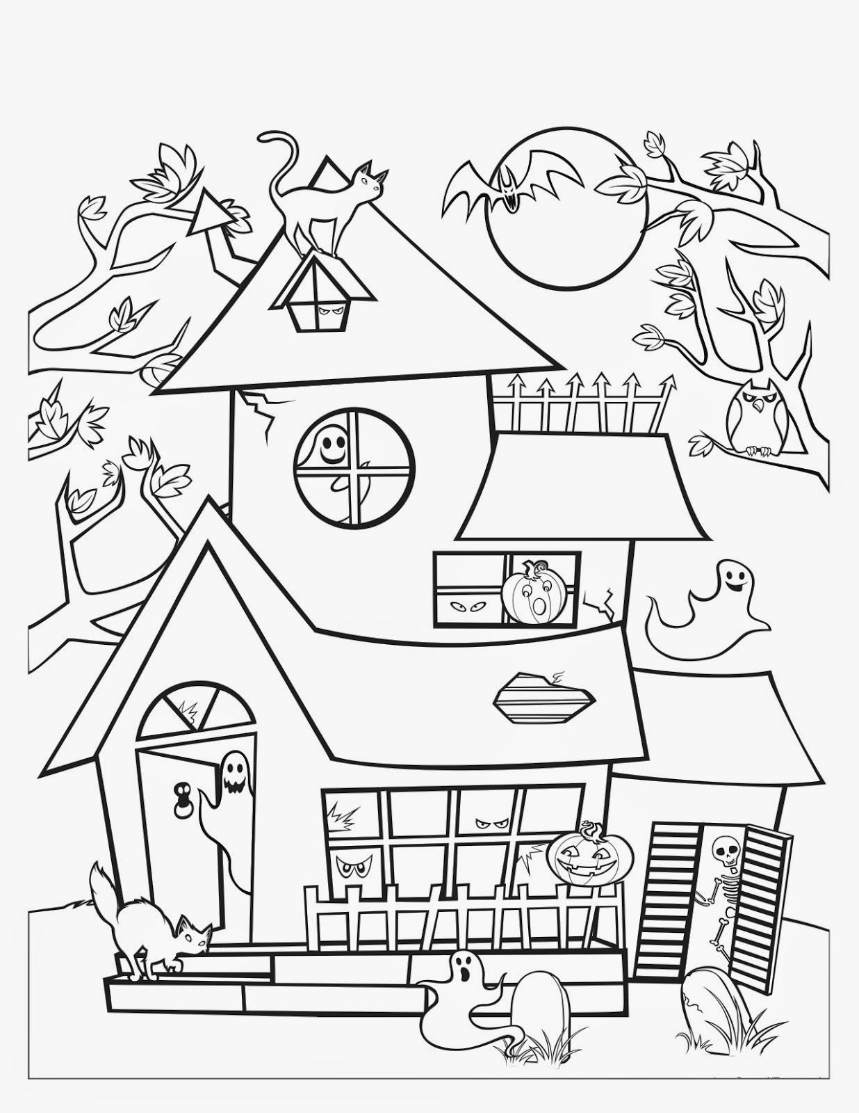 Free halloween haunted house coloring pages pronofoot35fo Gallery