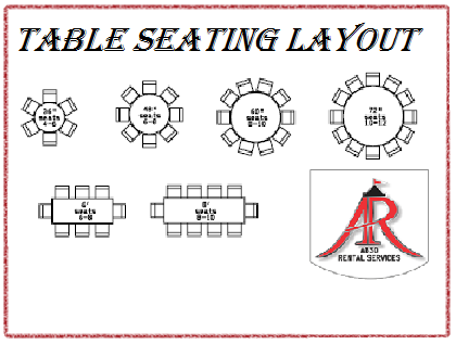 Abso rental services inc table seating layout linen for 10 person round table dimensions