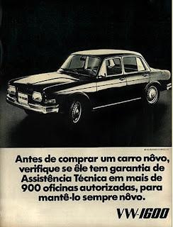 propaganda Volkswagen 1600 - 1970; os anos 70; brazilian cars in the 70s; Oswaldo Hernandez; década de 70;