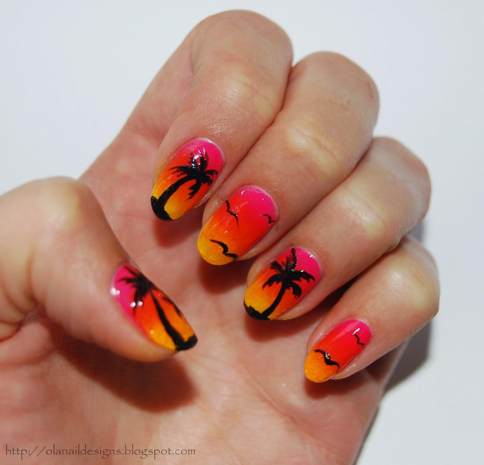 plażowe zdobienie paznokci