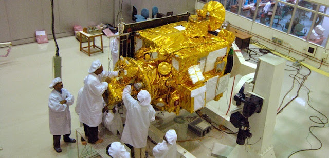Chandrayaan-1 spacecraft undergoing pre-launch tests in October 2008. Credit: ISRO