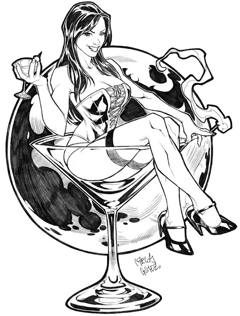 Martini Girl Pin Up