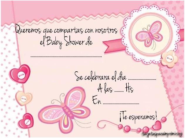 Invitaciones de baby shower para niña con mariposa - Imagui