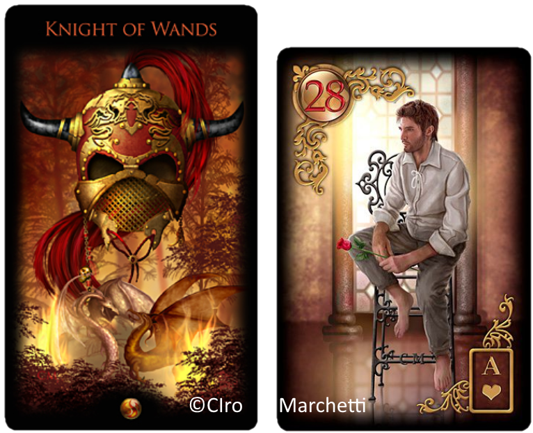 Legacy of teh Divine tarot, Gilded Reverie Lenormand, Knight  of Wands, man, Ciro Marchetti