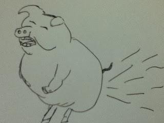 Cerdo tirándose pedos
