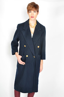 Vintage 1980's navy blue wool Christian Dior midi length coat with gold buttons.
