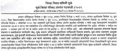 Dhule Zilla Parishad Bharti 2015 dhule.nic.in