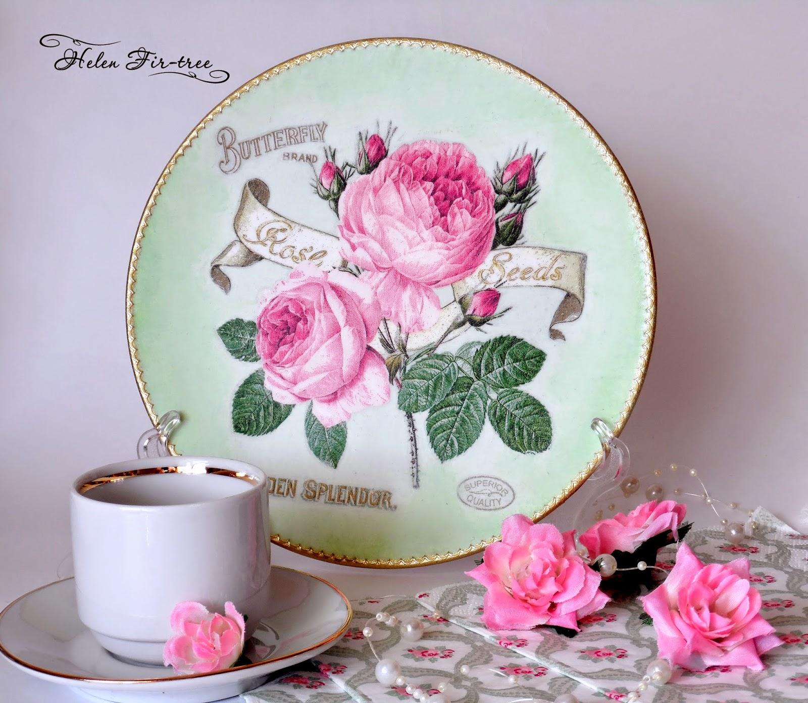 Helen Fir-tree декупаж тарелка Английская роза English rose decoupage plate
