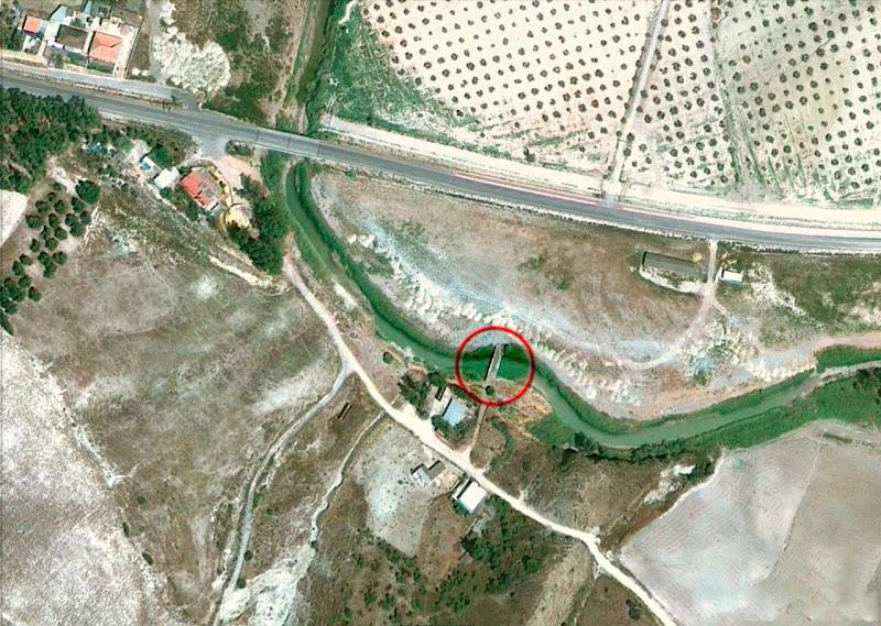 Vista aérea de la situación de la alcantarilla del Salado de Espera
