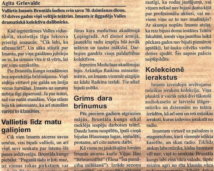 """Raksts laikrakstā ,, Staburags '' 2001. gada 27. februārī ,, Pusgadsimts veltīts teātrim """""""
