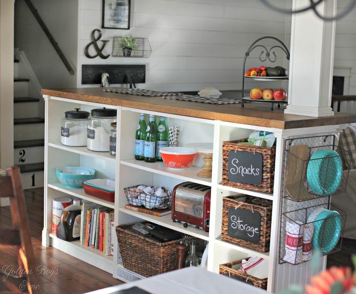 Ikea Billy bookshelves turned kitchen storage, ikea hack - www.goldenboysandme.com