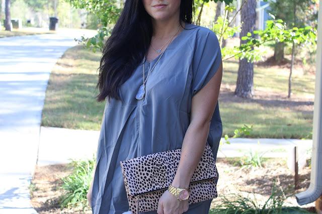 grey druzy necklace, leopard folder clutch
