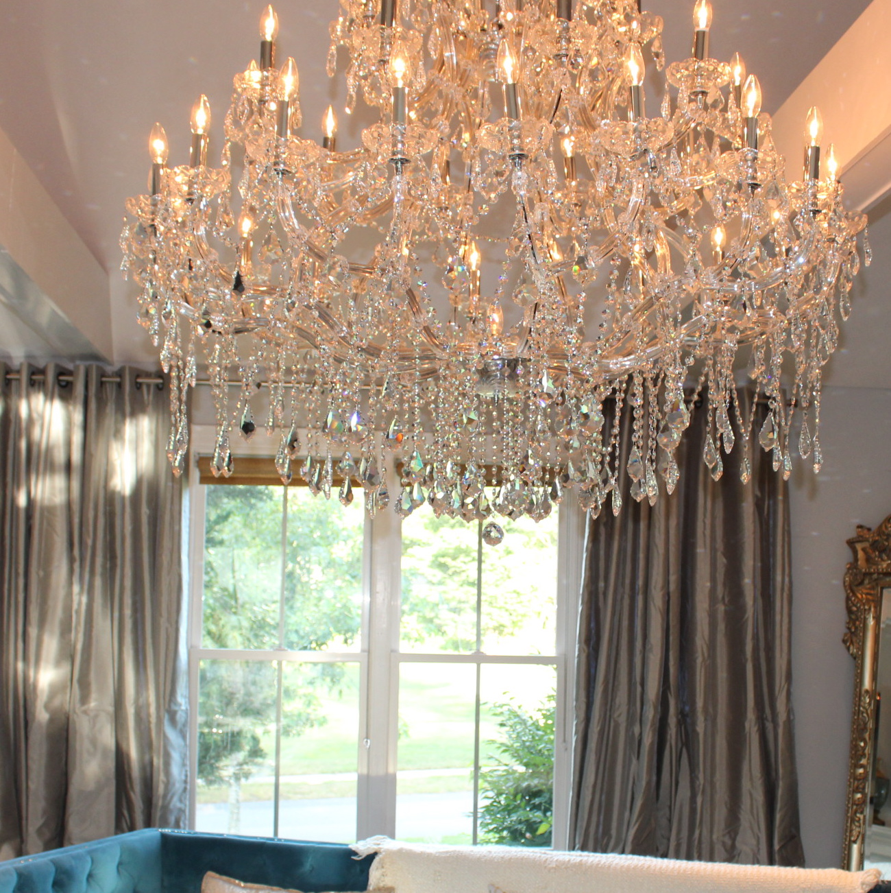 House updates new family room chandelier south shore honestly how did i miscount my windows there are only four so its kind of embarrassing although the larger windows have two panels per side arubaitofo Image collections