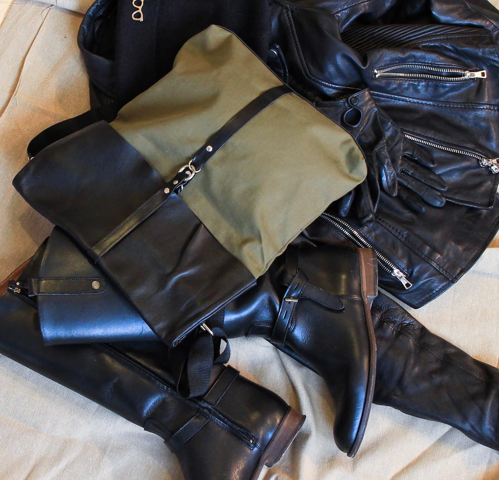 сумка из кожи и ткани