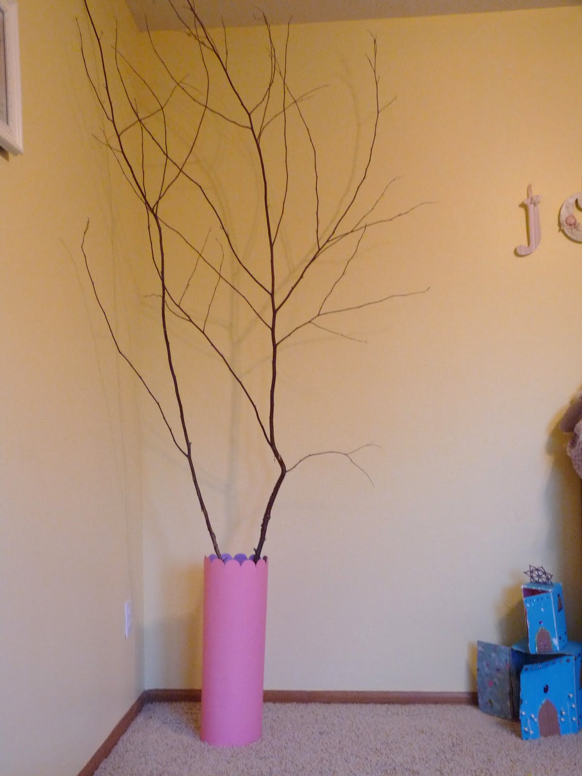 creations diy tall cylinder vase for tree branches in girls room