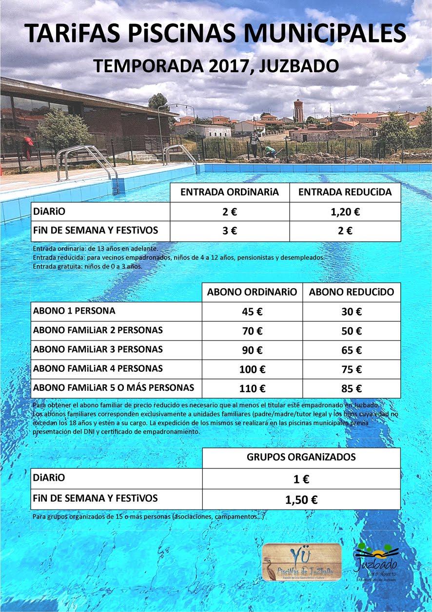 TARIFAS PISCINA TEMPORADA 2017