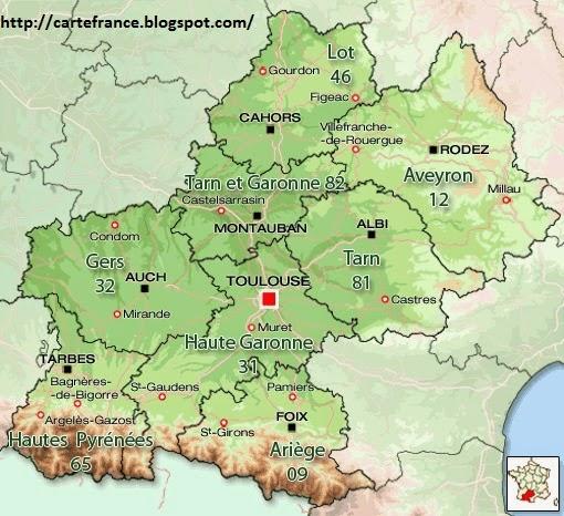 Région Midi Pyrénées carte de France Archives - Voyages - Cartes