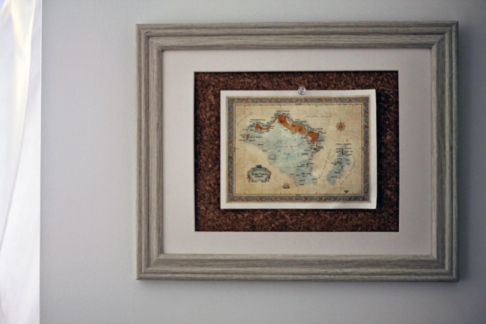 how to frame a postcard, postcard frame, postcard cork board, corkboard DIY frame