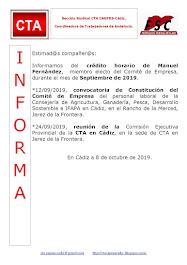 C.T.A. INFORMA CRÉDITO HORARIO MANUEL FERNANDEZ, SEPTIEMBRE 2019