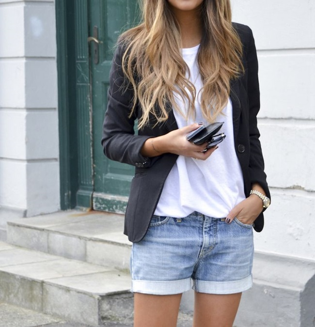 black blazer white tee denim shorts