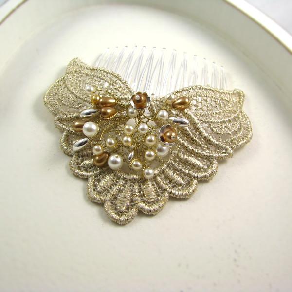 Ślubny stroik do włosów z perłami