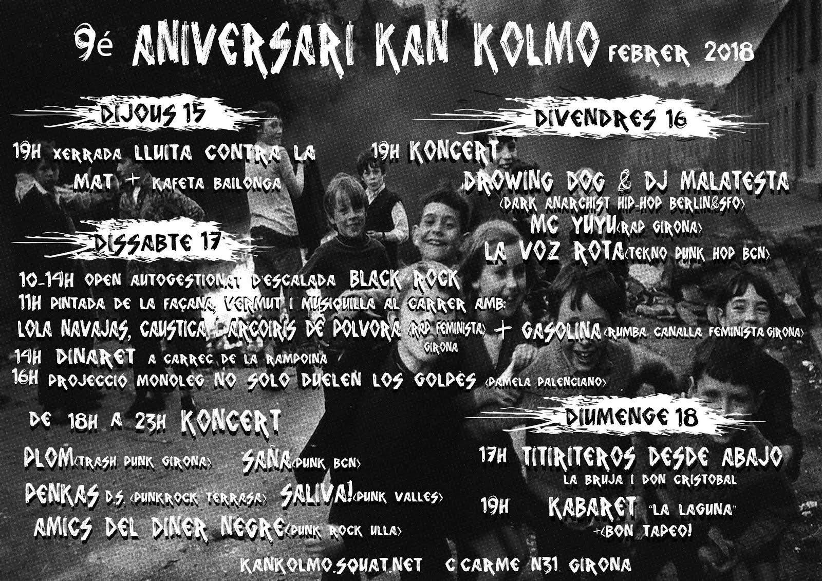 15-16-17-18 de febrer: 9è aniversari del Centre Social Okupat Kan Kolmo