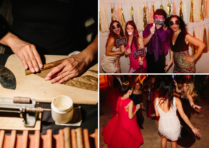 wedding dance party, photo booth  and cigar rolling station