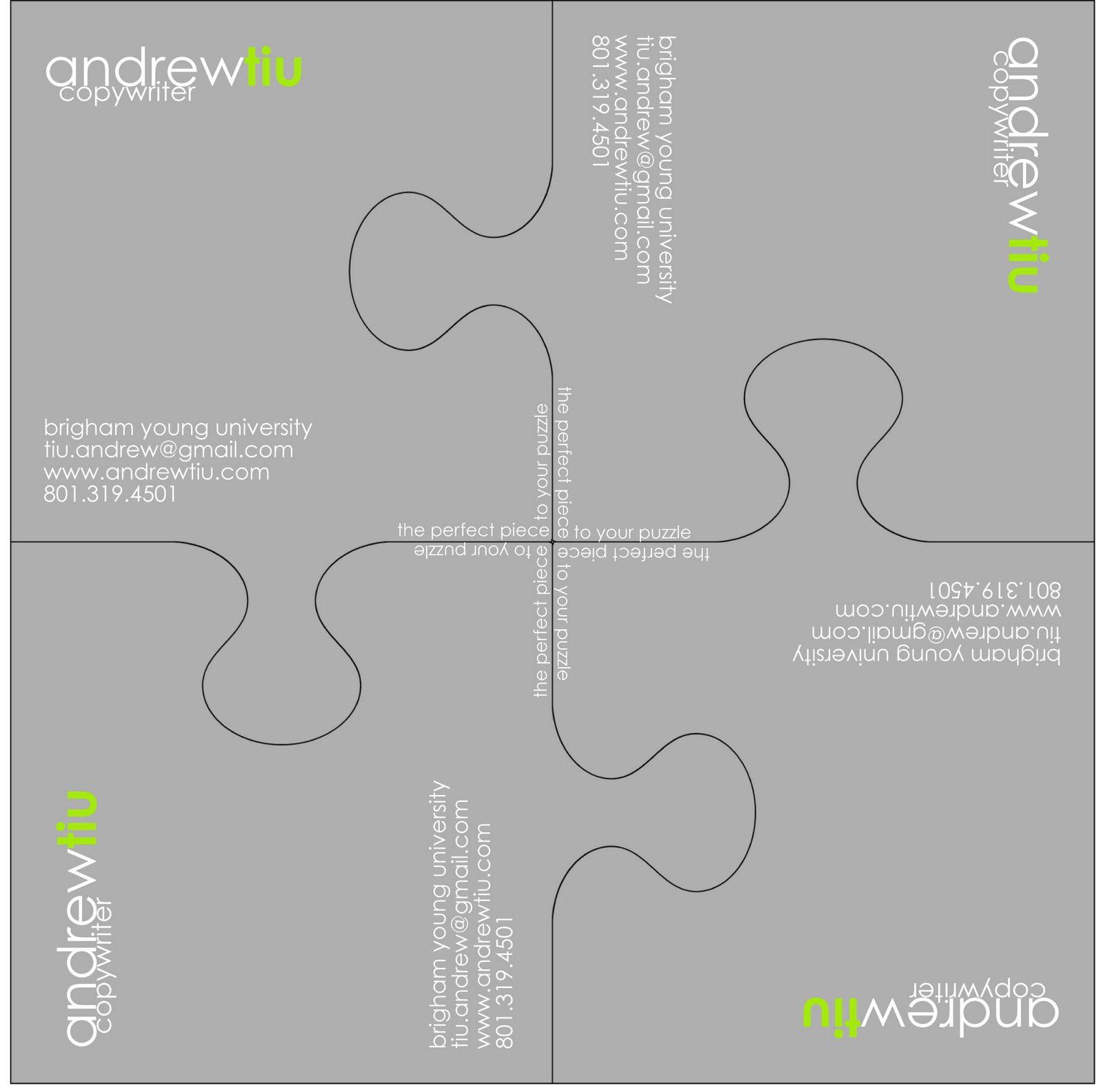 The viz andrew tiu business card above business card in the form of puzzle pieces belowon the back of each card is a piece of a bigger picture of me may possibly throw in a small colourmoves