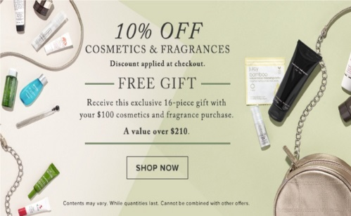 Hudson's Bay Black Friday Weekend 10% Off Cosmetics + Free Gift