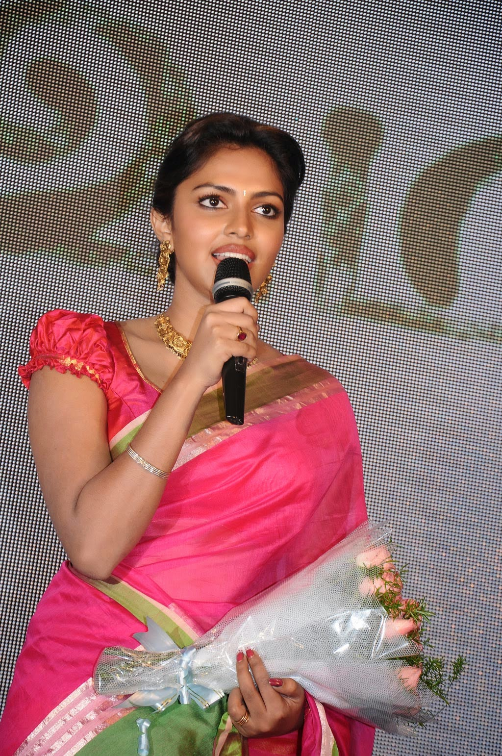 Amala Paul Pictures in Pink Saree at Saivam Movie Audio Launch ~ Celebs Next
