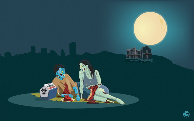 tapandaola111, greg dallas, funny, romantic, zombie, wallpaper, dinner, scary