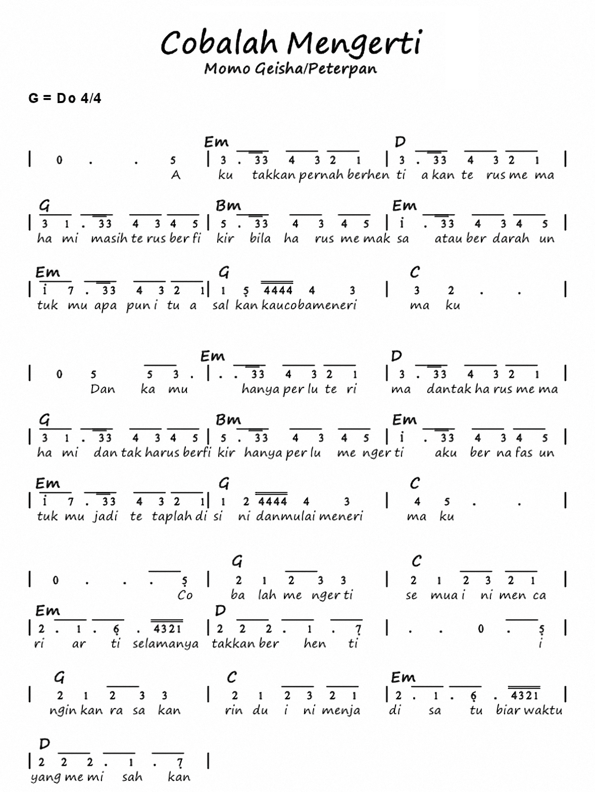 Chord Gitar Peterpan Cobalah