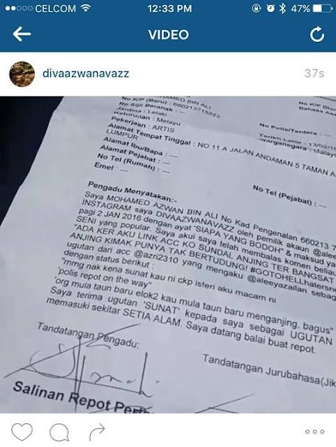 Screen shot laporan polis yang dibuat oleh Azwan Ali