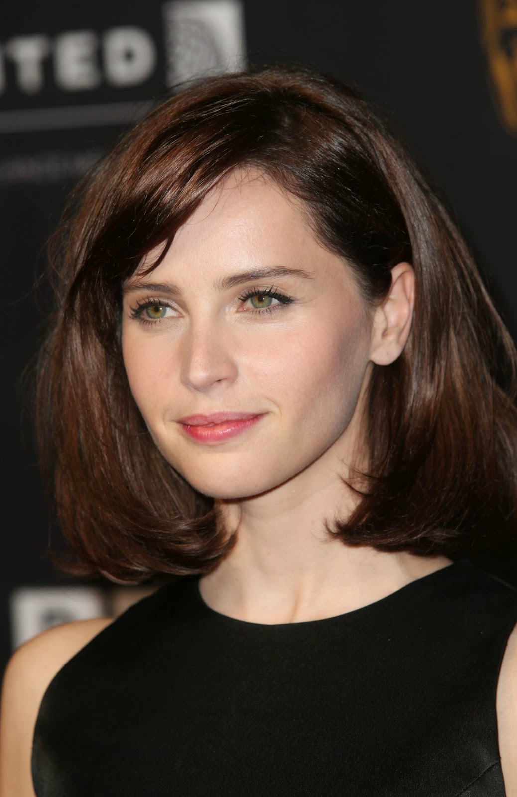 Felicity Jones stuns in black at the 2014 BAFTA LA Jaguar Britannia Awards