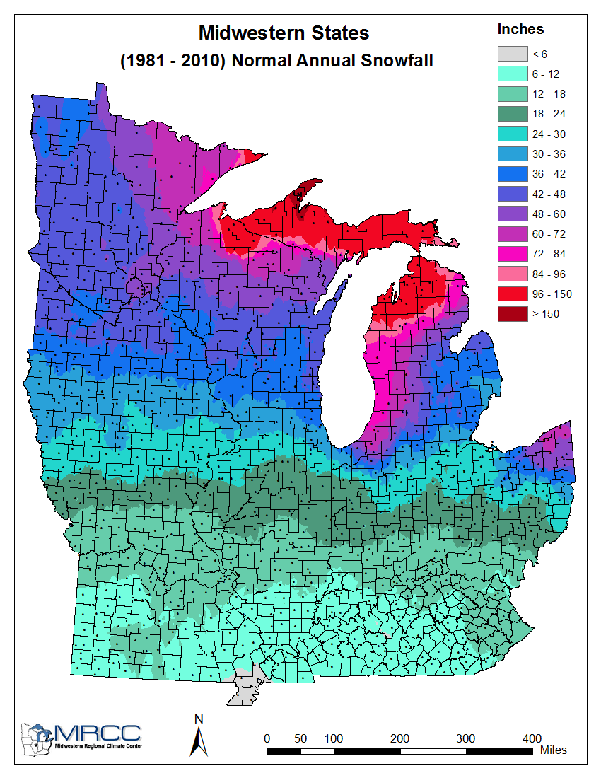 the graphic to the right snows average snowfall for the midwestern states with our area being on the lower end of the scale records barkley regional in