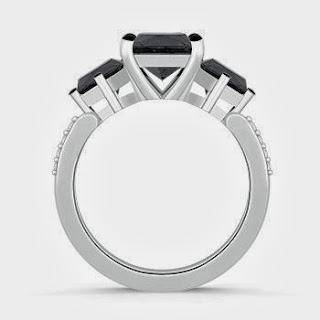 Enhanced Black Diamond Three Stone Engagement Ring in White Gold