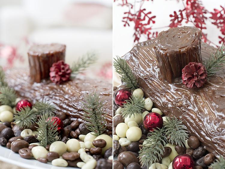 tronco de Navidad de frutos secos