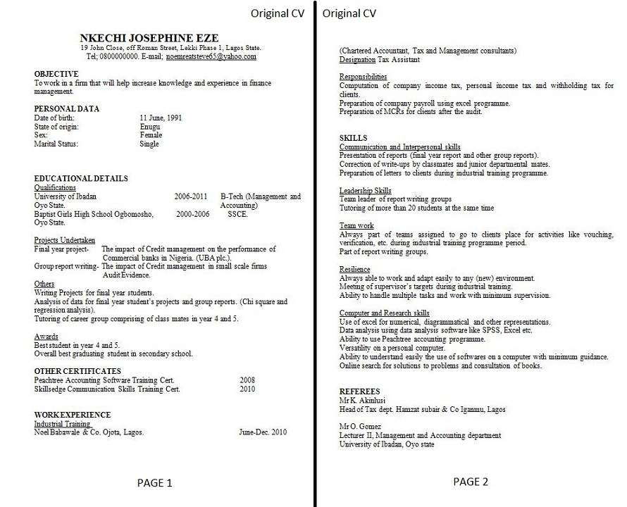 photo original cv before review