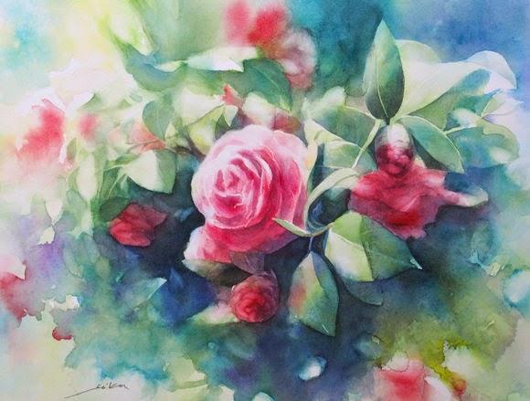 Lukisan Bunga Watercolor Painting Seikou Yamaoka